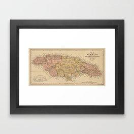 Vintage Map of Jamaica (1893) Framed Art Print
