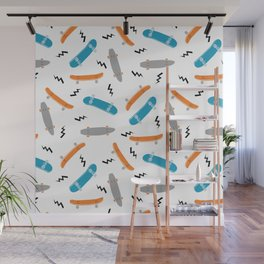 Skateboards orange and blue pattern great decor for nursery kids rooms boys and girls Wall Mural