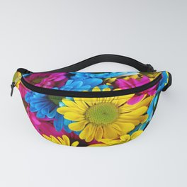 Daisy Flowers, Petals, Blossoms - Blue Yellow Pink Fanny Pack