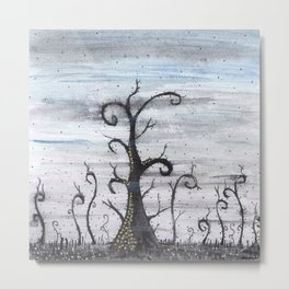 Magic forest - abstract watercolor painting Metal Print