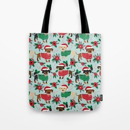 Dachshund christmas sweater florals poinsettia holiday red and white santa hat for dog lover Tote Bag
