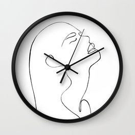 One line lady face Wall Clock