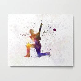 Cricket player batsman silhouette 08 Metal Print