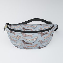 Origami Dachshunds sausage dogs // pale blue background Fanny Pack
