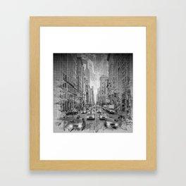 Graphic Art NEW YORK CITY Traffic   Monochrome Framed Art Print