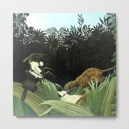 """Henri Rousseau """"Scouts Attacked by a Tiger"""" Metal Print"""