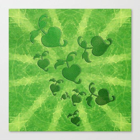 Vine leaves on green kaleidoscope Canvas Print