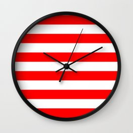 Stripe Red and White Lines Wall Clock