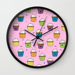 Cute Happy Fun Cupcakes with pink background Wall Clock