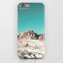 Vintage Picture Desert Snow // Winter Teal Blue Sky Red Rock Canyon Wilderness Park Photograph iPhone Case