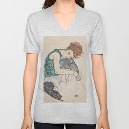 SEATED WOMAN WITH BENT KNEE - EGON SCHIELE Unisex V-Neck