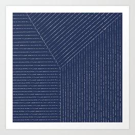 Lines / Navy Art Print