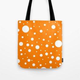 Mixed Polka Dots - White on Orange Tote Bag