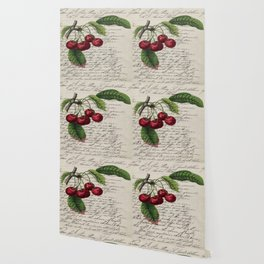 shabby elegance french country botanical illustration vintage red cherry Wallpaper