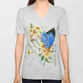 Holly Blue Butterfly and Yellow Flowers Unisex V-Neck