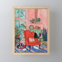 Red Armchair in Pink Interior with Houseplants, Ginger Cat, and Spaniel Interior Painting Framed Mini Art Print