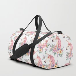 Pink lilac yellow green watercolor magical unicorn floral Duffle Bag