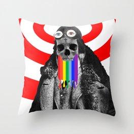 Rainbow Skull Pilot Throw Pillow