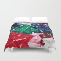 bows Duvet Covers featuring Christmas Bows by Jessica Gawinski