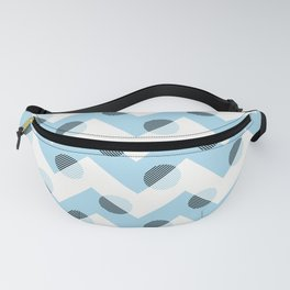 Horizons Geometric Mountain Waves Design 11 - Turquoise Blue Fanny Pack