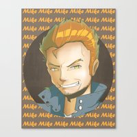 mike wrobel Canvas Prints featuring Mike  by EY Cartoons