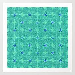 Blue starfish on green sand Art Print