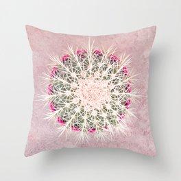 Cactus mandala - blush concrete Throw Pillow
