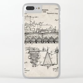 Brewing Beer Patent - Beer Art - Antique Clear iPhone Case