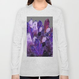 PURPLE AMETHYST CRYSTALS GREY ART Long Sleeve T-shirt