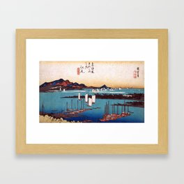 Utagawa Hiroshige Panorama of Miwo Pine Wood from Ejiri Framed Art Print