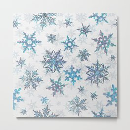 """Embroidered"" Snowflakes on white canvas Metal Print"