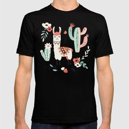 White Llama with flowers T-shirt