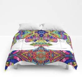 Psychedelic White Cat Comforters