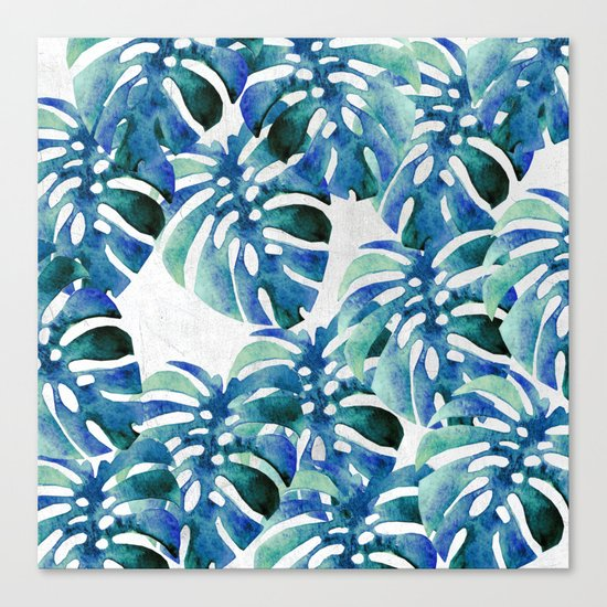 Monstera Pattern Green And Blue Canvas Print