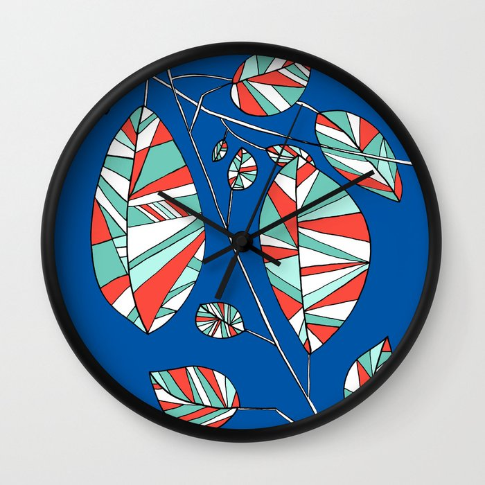 Colorful Tree Branch Drawing by Emma Freeman Designs Wall Clock