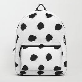 Black white hand painted watercolor polka dots Backpack