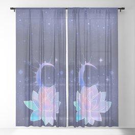 moon lotus flower Sheer Curtain
