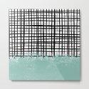 Mila - handpainted grid lines crosshatch weave with mint sage stripe minimalist nursery by charlottewinter