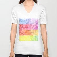 rainbow V-neck T-shirts featuring Rainbow by Elisa Rosa