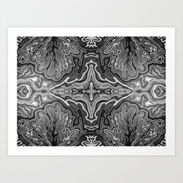 Abstract #4 - V - High Contrast Black & White Art Print