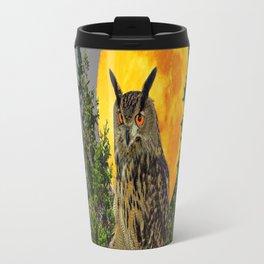 OWL WITH FULL MOON & PINE TREES GREY ART Travel Mug