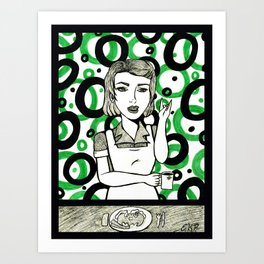 Retro Waitress Art Print