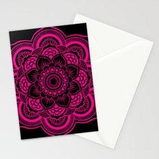 Mandala Flower Pink & Black Stationery Cards