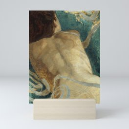 Backlite Nude Figure Oil painting Turquoise of Woman Mini Art Print