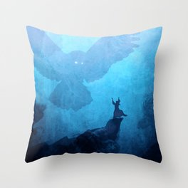 Owl Summoner: Blue Haze Throw Pillow