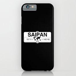 Saipan Northern Mariana Islands Map GPS Coordinates Artwork iPhone Case