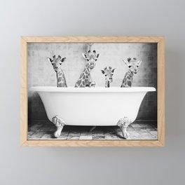 Four Giraffes in a Bath Framed Mini Art Print