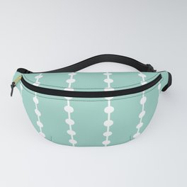 Geometric Droplets Pattern Linked - Pastel Green and White Fanny Pack