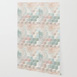 Distressed Cube Pattern - Nude, turquoise and seashell Wallpaper