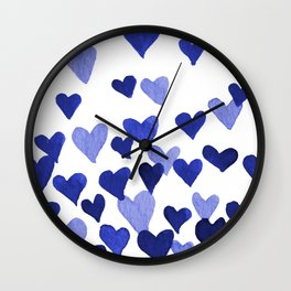 Valentine's Day Watercolor Hearts - blue Wall Clock